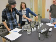 "Students experiencing olfactory ""thrills"" while measuring dissolved oxygen and redox potential of soil microcosms after flooding. The rotten-egg odor was intense in several of these samples."